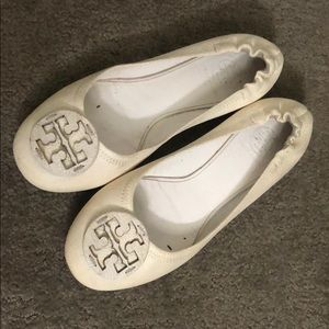 Tory Burch off-white Minnie travel leather flats
